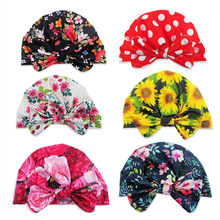 2019 Arab Unisex Fashion newborn cotton baby soft hats for baby girls Toddler Cute Floral Bowknot Cap Toddler Turban Photo Props(China)