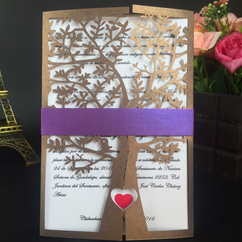 30Pcs Wedding Invitations Card Greeting Card Christmas Card Chic Tree Love Heart Design Party Decoration For Business/Birthday