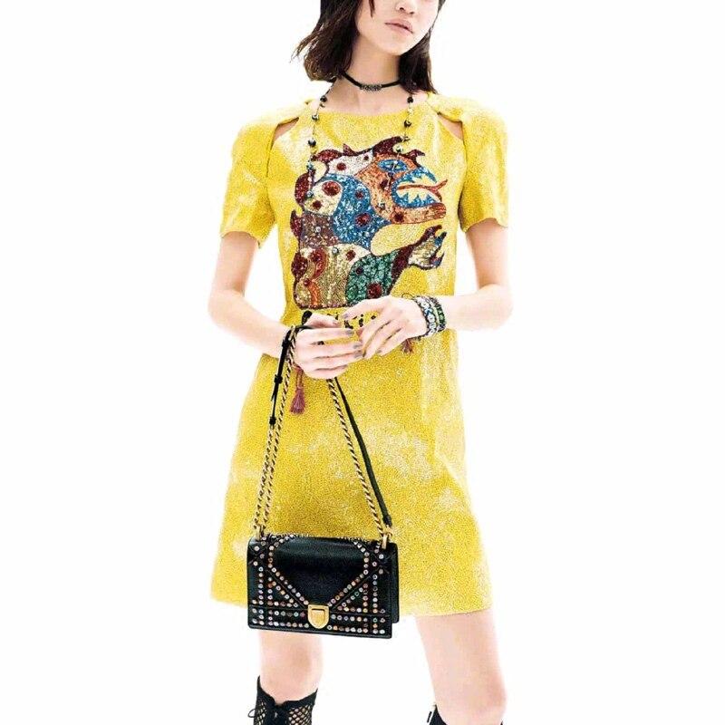 2018 Runway lujo brillante amarillo camisa vestido mujeres verano monstruo Sexy manga corta partido Mini vestido una línea ropa