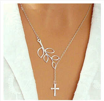Wholesale Fashion Retro Leaf & Cross Necklaces Silver Color Leaves Necklaces for women