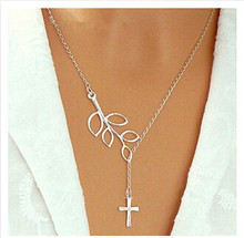 Wholesale Fashion Retro Leaf & Cross Necklaces Silver Color Leaves Necklaces for women(China)