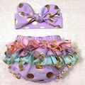 Bloomers del bebé de Oro Polka Dot cubierta del pañal de La Colmena Cubierta Del Pañal con diadema a juego regalo de bienvenida al bebé apoyo de la foto