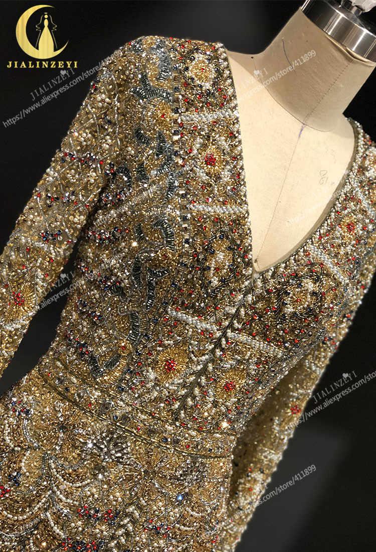 JIALINZEYI אמיתי סקסי ארוך שרוולים לוקסוס קריסטל אלי סאאב חרוזים הברך אורך מכירה לוהטת פורמליות שמלות שמלות נשף