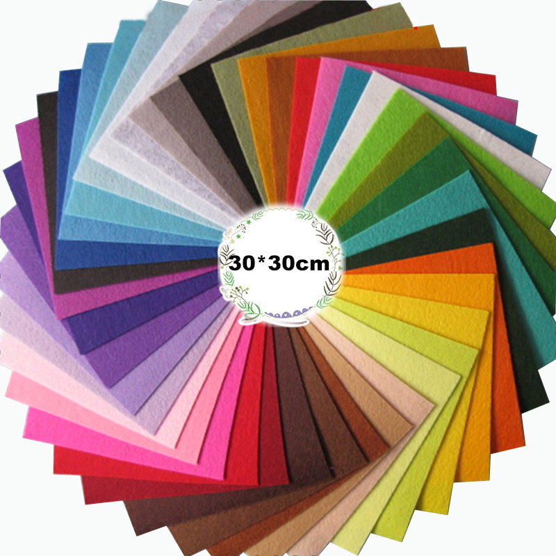 30*30cm 1mm Thickness Non Woven Felt Polyester Cloth Handmade Diy Christmas Crafts Handwork Home Decor Sewing Toys 22pcs/Lot