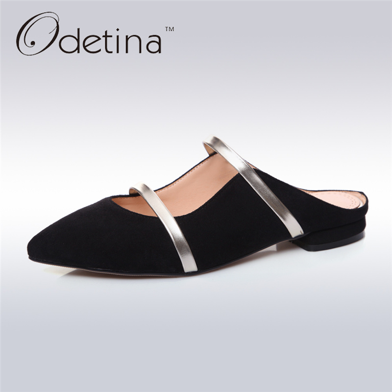 Odetina 2017 Genuine Leather Fashion Summer Half Slippers Women Mules Single Shoes Lady Slingback Pumps Low Heel Big Size 33-43 цены онлайн
