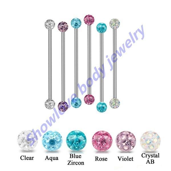 1a0403d2e 6PCS 14G Mixed colors 38MM Lengh industrial bar barbell ear piercing  straight barbell Ear Helix Tragus