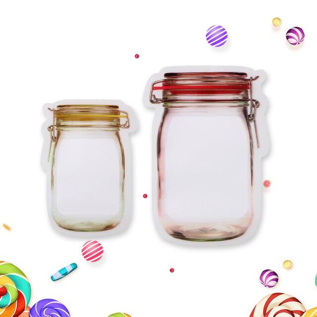 5 шт./лот Портативный стеклянная банка с завинчивающейся крышкой Форма Еда с застежкой-молнией сумка для хранения на кухне путешествия пакеты для ланча конфеты чехол для хранения, на молнии