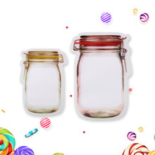 7ba955491e7f 5Pcs lot Portable Mason Jar Shape Food Zipper Sealed Storage Bag Kitchen  Travel Food Snack