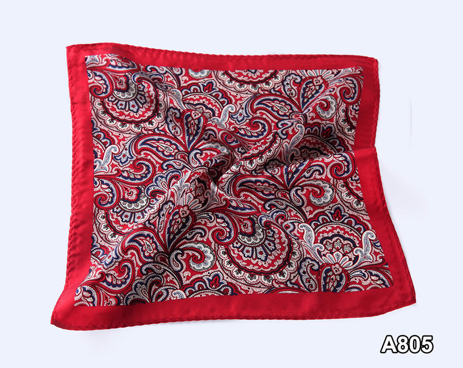 A805,HN08R) Red Navy Blue Paisley 33cm