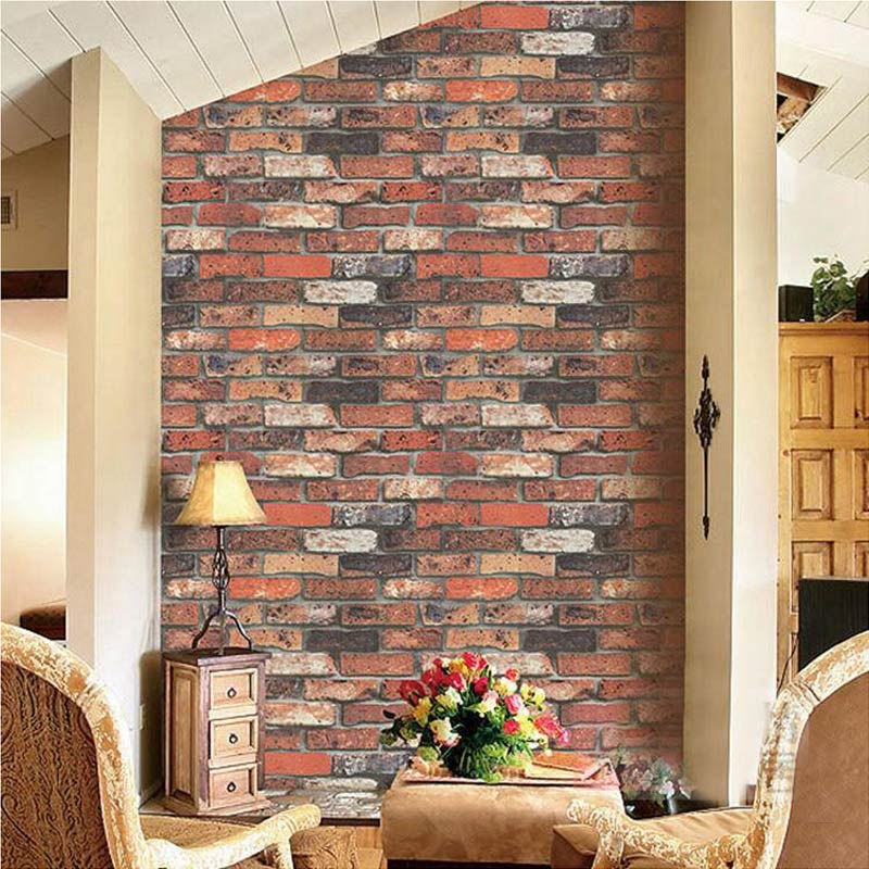 Red Brick Wallpaper Vintage 3D Embossed Stone Wall Paper Living Room Kitchen Chinese Style Background Wall Home Decor Wallpapers rustic brick wall wallpaper chinese style vintage wallcoverings home decor warm color for living room bright room ornament