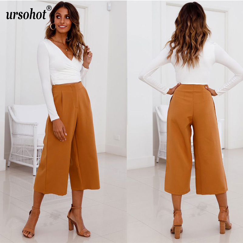 Ursohot Wide Leg Pants Female Summer Yellow Trousers Casual High Waist Calf Length Women Pants With Pocket 2018 New