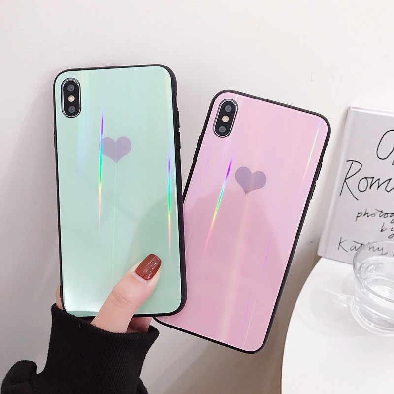 Laser Cinta Hati Tempered Glass Case untuk Huawei P20 Lite P30 Pro Cover Honor 9 10 V9 V10 Mate 20 pro Nova 2S 3 3i 4 Y9 2019