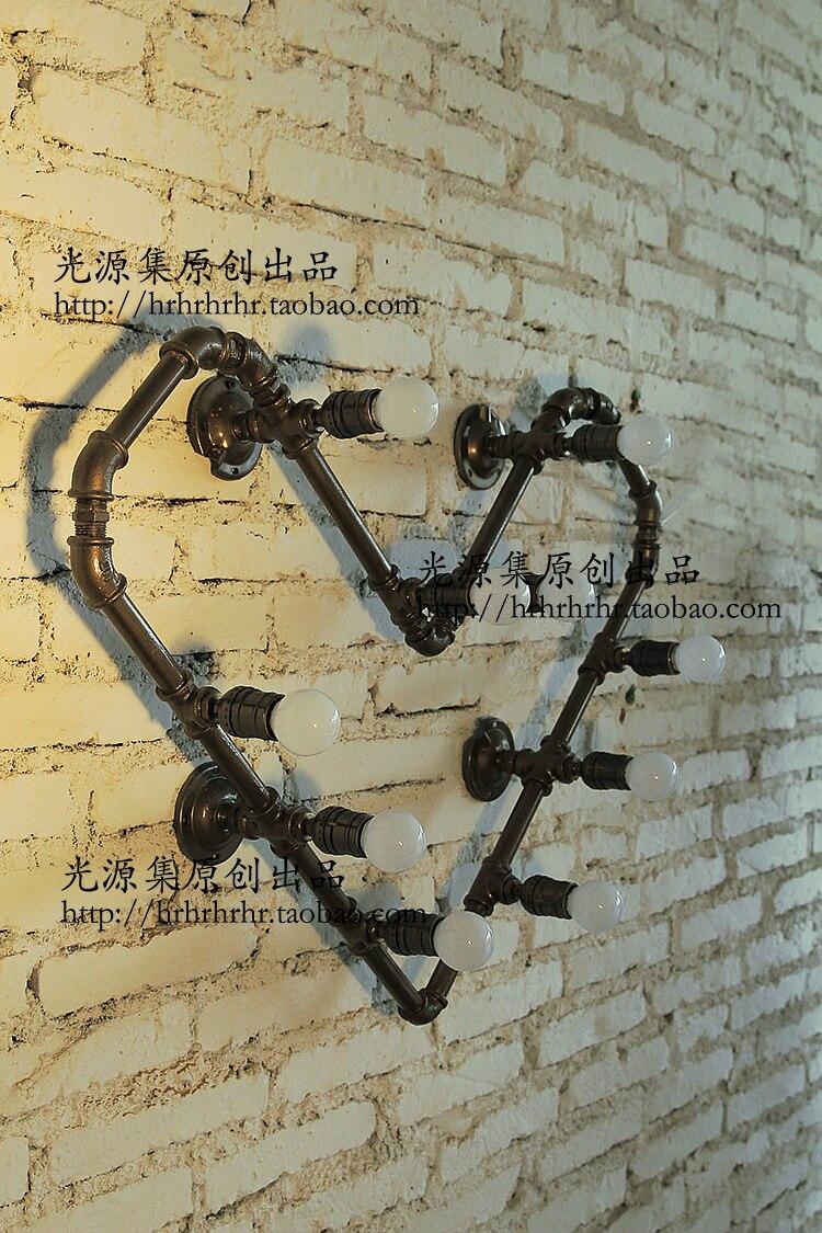 Acqua parete camera da letto luci prodotto negozio di abbigliamento bar LOFT industriale lampada creativa tubi di Acqua a forma di cuore ligh ZA - 2