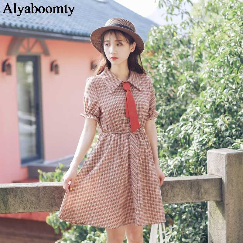Элегантное стильное летнее женское Короткое платье в винтажном стиле, повседневное свободное платье в клетку с коротким рукавом, милое платье трапециевидной формы с бантом для девочек