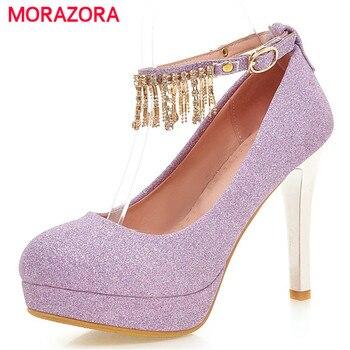 438a48717 MORAZORA/2018 г. обувь для невесты свадебные туфли на платформе с пряжкой  женские туфли