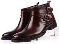 Tamaño grande EUR46 negro/marrón tan doble hebilla de negocios para hombre Botas de vestir de cuero genuino botas de tobillo para hombre