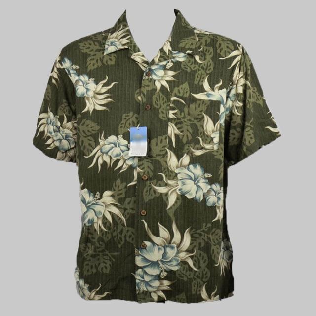 100% silk hawaiian summer holiday coconut tree floral print shirt men big  size plus size