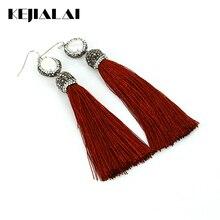 Kejialai Fashion Tassel Long Earrings Pearl Charm Pave Rhinestone Red Tassel Fringe Bohemian Jewelry Women Wedding Best Gifts