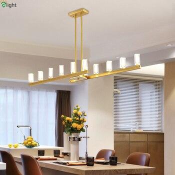 Postmodernistyczna Lustre Crystal Led żyrandole oświetlenie jadalnia metalu miedzi doprowadziły Wisząca lampa światła lampy wiszące oprawy oświetleniowe