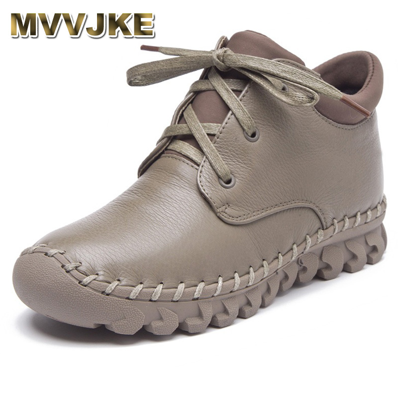 MVVJKE Autumn Winter Women Boots Fashion Handmade Genuine Leather Flat Ankle Boots For Women Snow Boots Warm Casual Shoes Botas nikbea brown ankle boots for women vintage flat boots 2016 winter boots handmade autumn shoes pu botas feminina outono inverno