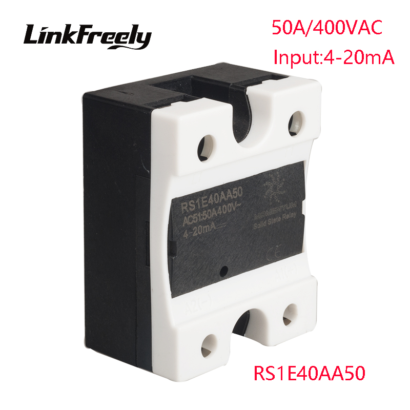 RS1E40AA50 5pcs AC Solid State Relay 50A 42-440VAC Output Input:4-20mA Voltage Adjustment Soft Starting SSR Relay Switch Board rm1a40a50 ac ac solid state relay 50a soft starting relay switch board output 42 440vac input 20 280vac 22 48v dc ssr relay