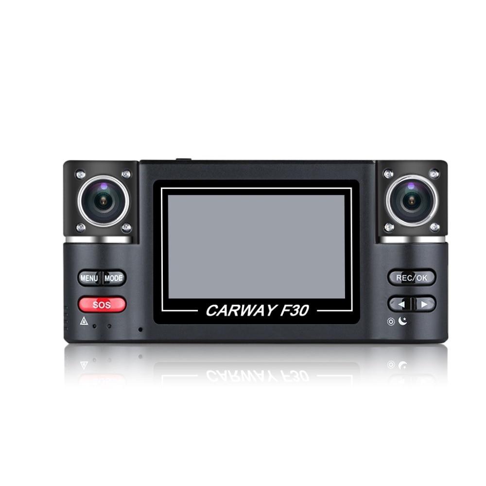 лучшая цена 2.7 Car DVR Dual Lens Car Vehicle 1080P HD Dash Cam Car Camera Night Vision Recorder 360 Degree Carway F30 Car Driving Recorder