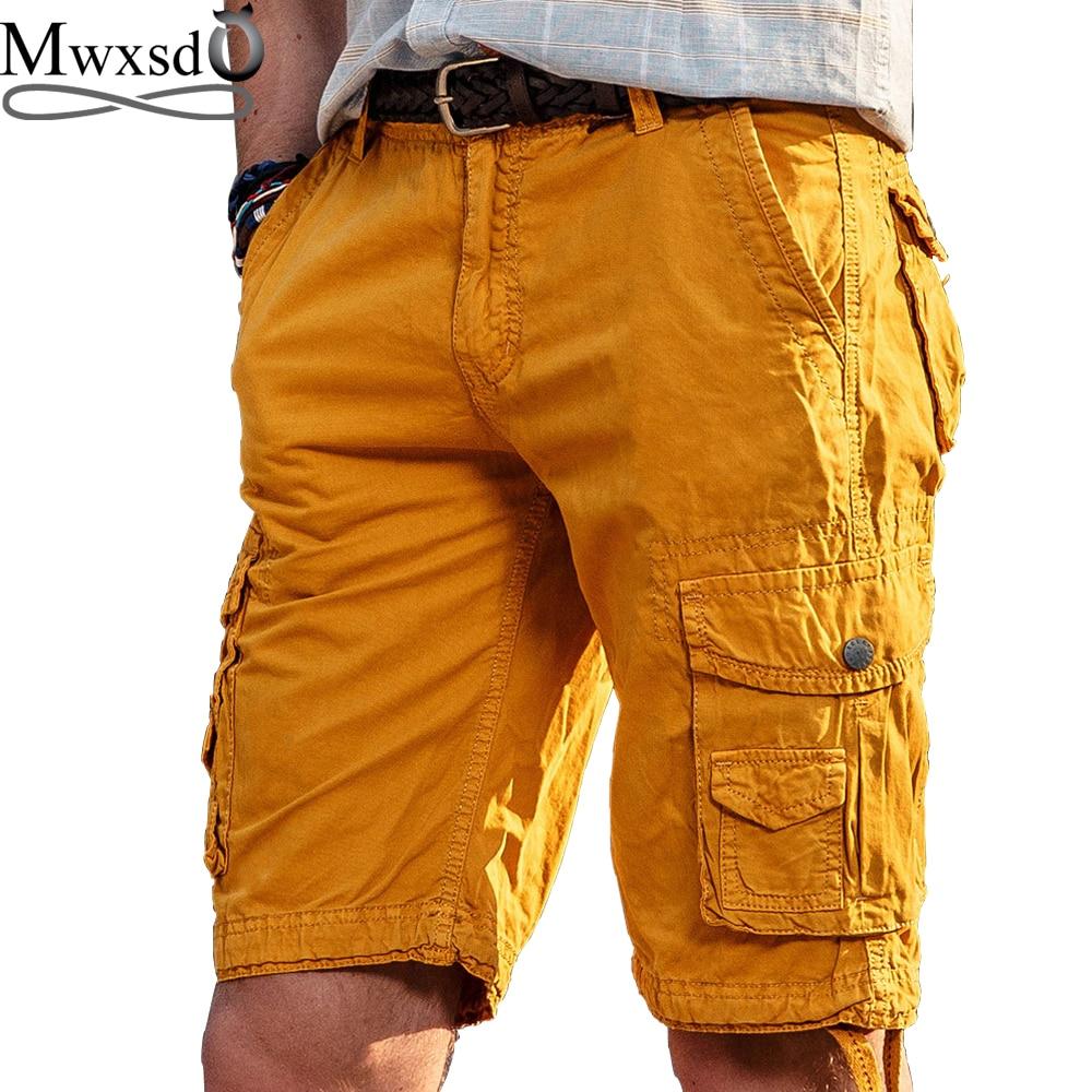 High Quality Mwxsd Brand Men Casual Cargo Shorts Cotton Knee Length Shorts Men's Military Bermuda Homme Cargo Shorts