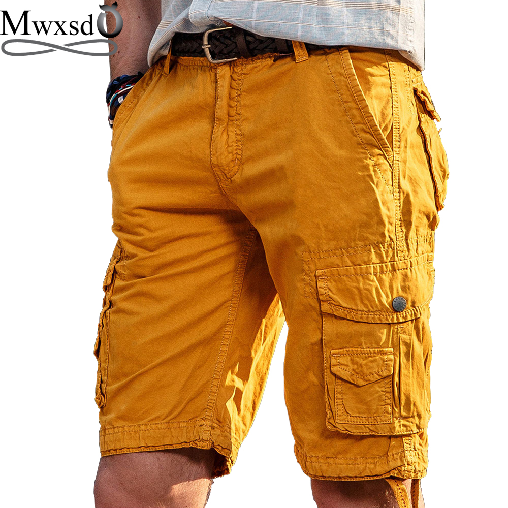 High Quality Mwxsd Brand Men Casual Cargo Shorts Cotton Knee Length Shorts Men's Military Bermuda Homme Cargo Shorts