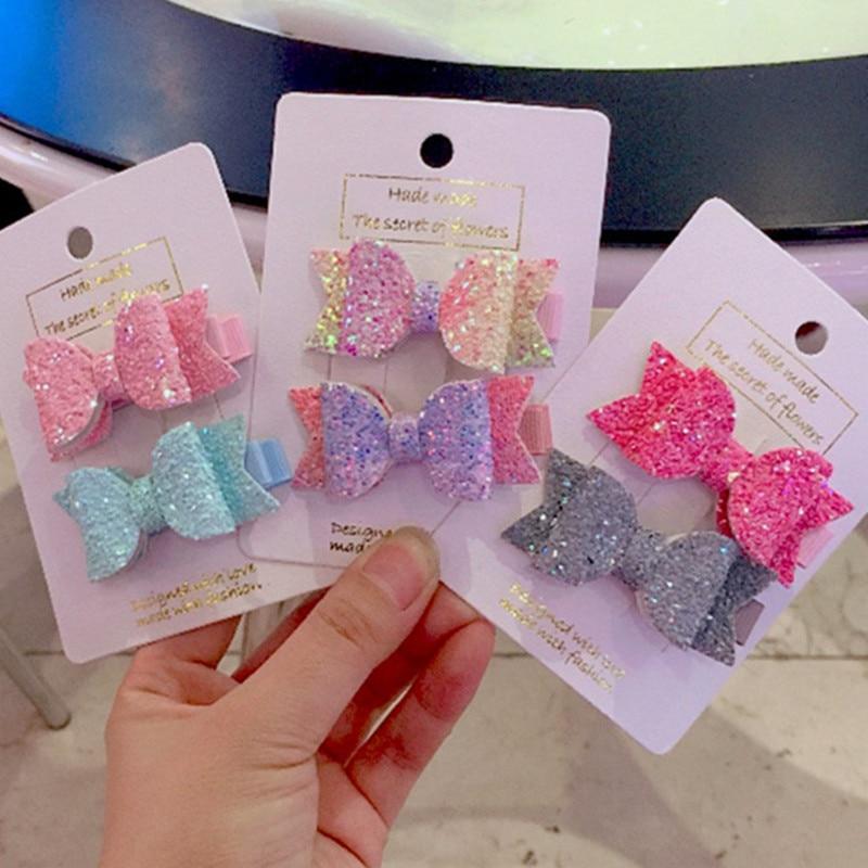 Glitter Baby Girls Bows Headwear Sequin Bow Cute Hairpins Kids Hair Clips
