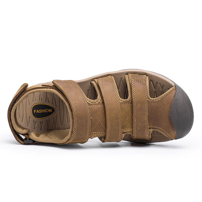 ec373009419b7 New 2018 Fashion Genuine Leather Sandals Men Beach Summer Shoes Non slip Thick  Sole Brand Men s Sandals Plus Size 45 ZHK229-in Men s Sandals from Shoes on  ...