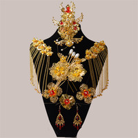 Chinese Style Classical Red Crystal Bridal Jewelry Sets Headdress Hair Accessories Imitation Pearl Gold Plated Wedding