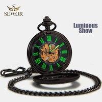 SEWOR Top Sale New Vintage Black Mesh Pocket Watch Luminous Case Automatic Mechanical Self Wind C137