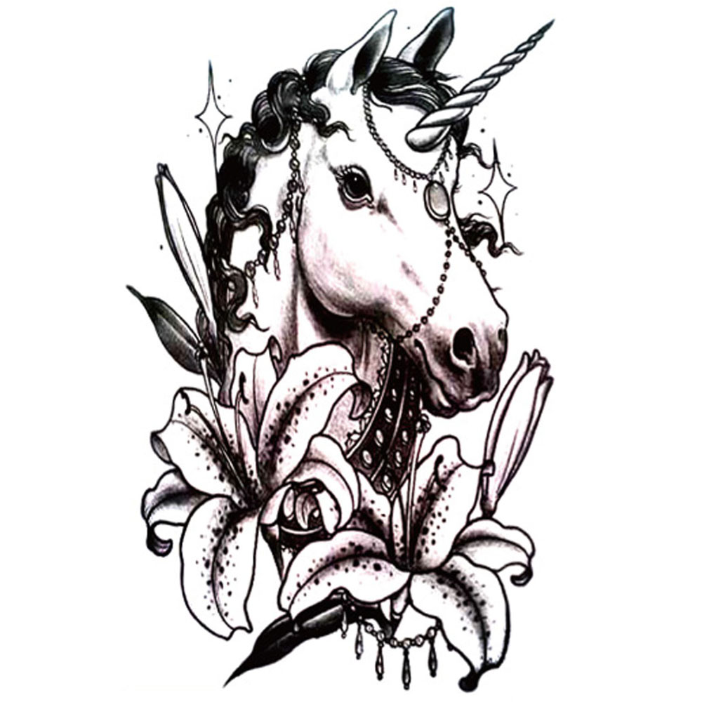Yeeech Temporary Tattoos Sticker for Men Women Fake Unicorn Lilies Animal Designs Arm Leg Sexy Body Art Waterproof Long Lasting