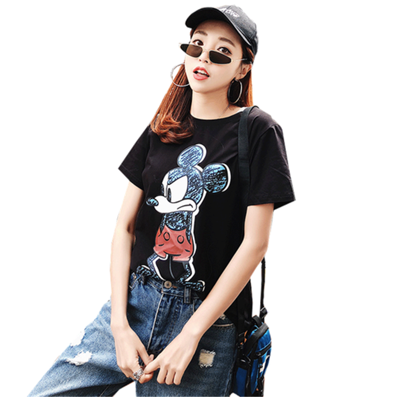 2019 Summer New Women's T-shirt Fashion Casual Mickey Mouse Printing Round Neck Short Sleeve Loose Female Tshirts 6