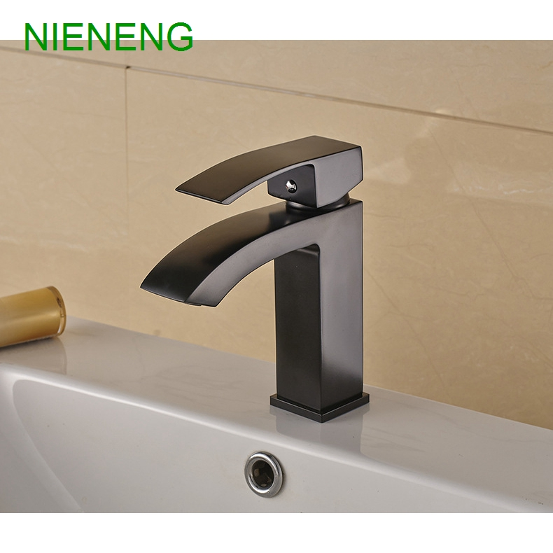 NIENENG big sale bathroom basin faucet copper black plated mixers for bathroom faucets toilet sink taps cabinet tap ICD60164 nieneng big discount basin washroom mixer bathroom faucet tap mixers wc sanitary ware water toilet taps polished chrome icd60157