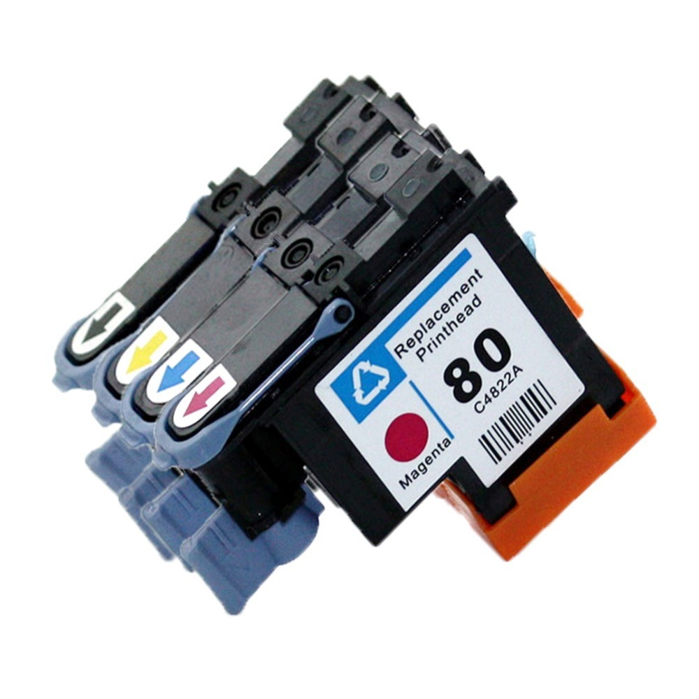 YI LE CAI compatible 1Set 4color printhead for HP80 Designjet 1000 1050c 1055 Ink Cartridge Head for hp 80 Cartridges 1pcs ca4820a black printhead for hp 80 designjet 1000 1050c 1055cm printer