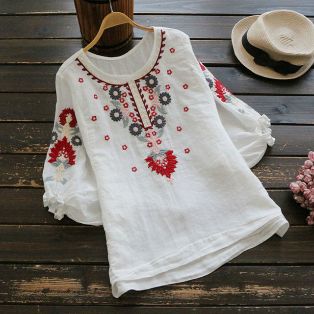 8083b143330 Cotton Linen Summer Blouses Shirts Women Top Loose Blusa Mujer Vetement  Femme Fashion Lantern Sleeve Embroidery