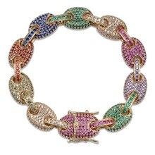 Topgrillz 12Mm Rainbow Cubaanse Link Armband Iced Out Mannen Hip Hop Sieraden Koper Materiaal Goud Zilver Kleur Chain armband
