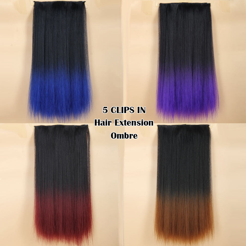 4colors Ombre Clip In Hair Extensions Ombre Black Burgbrownblue