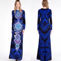 European and American big Super beautiful Printed Long Dress Elegant Deep blue Extra long Mopping the floor Dress