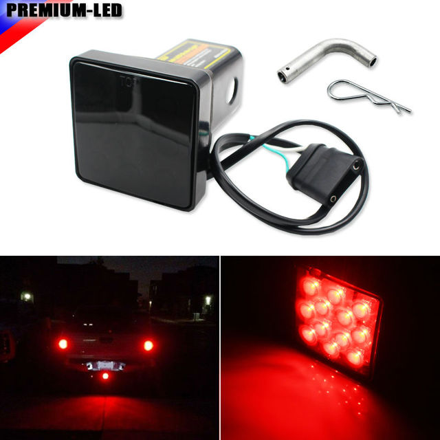 """(1) Smoked Lens 12-LED Super Bright Brake Light Trailer Hitch Cover Fit Towing & Hauling 2"""" Standard Size Receiver"""