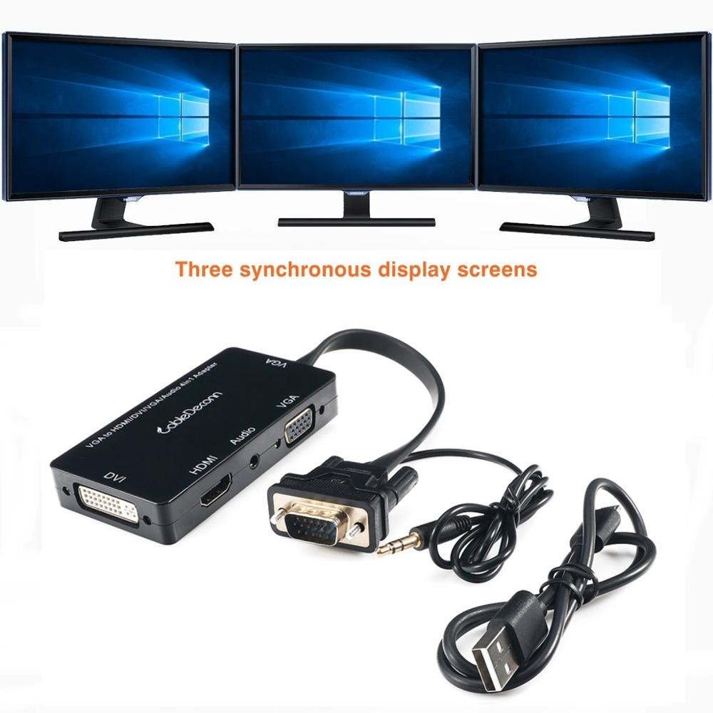 CableDeconn VGA Audio to VGA HDMI DVI Female 3IN1 Adapter Converter for Desktop Laptop Display simultaneously