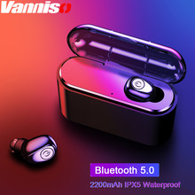 Vanniso TWS Wireless Bluetooth Earphones Mini Waterproof IPX 5 Headfrees Earbuds with 2200mAh Power Bank For iphone X Samsung S8