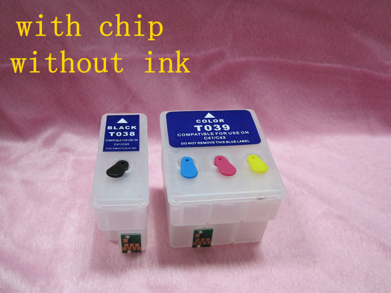 Free shipping for EPSON T038 T039 Refillable ink Cartridge for EPSON C41 C43 C43UX C45 CX1500