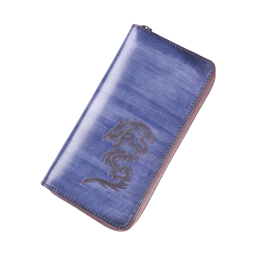 TERSE Hand coloring genuine leather long font b wallet b font font b men b font