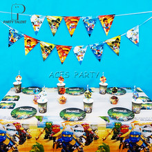Party supplies 74pcs for 12kids Ninja theme birthday party decoration tableware set, plate+cup+straw+banner+invitations+topper(China)