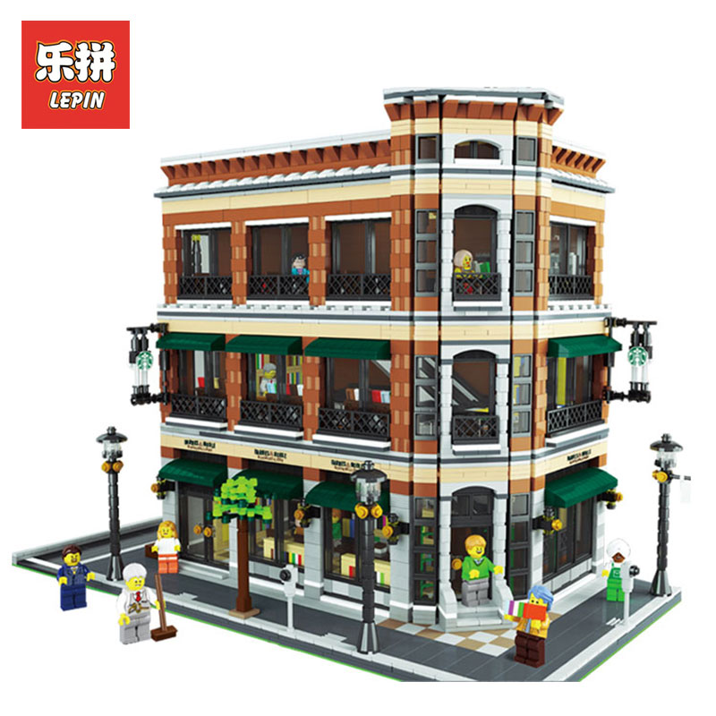 LEPIN 15017 4616Pcs Starbucks Bookstore Cafe LegoINGlys Model Building Kits  Blocks Bricks Compatible for Children Toys Gift lepin 22001 pirate ship imperial warships model building block briks toys gift 1717pcs compatible legoed 10210