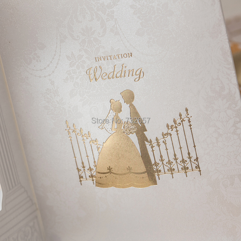 Gold Wedding Invitations Blank Cards Bride&Groom 170*115mm Empty ...