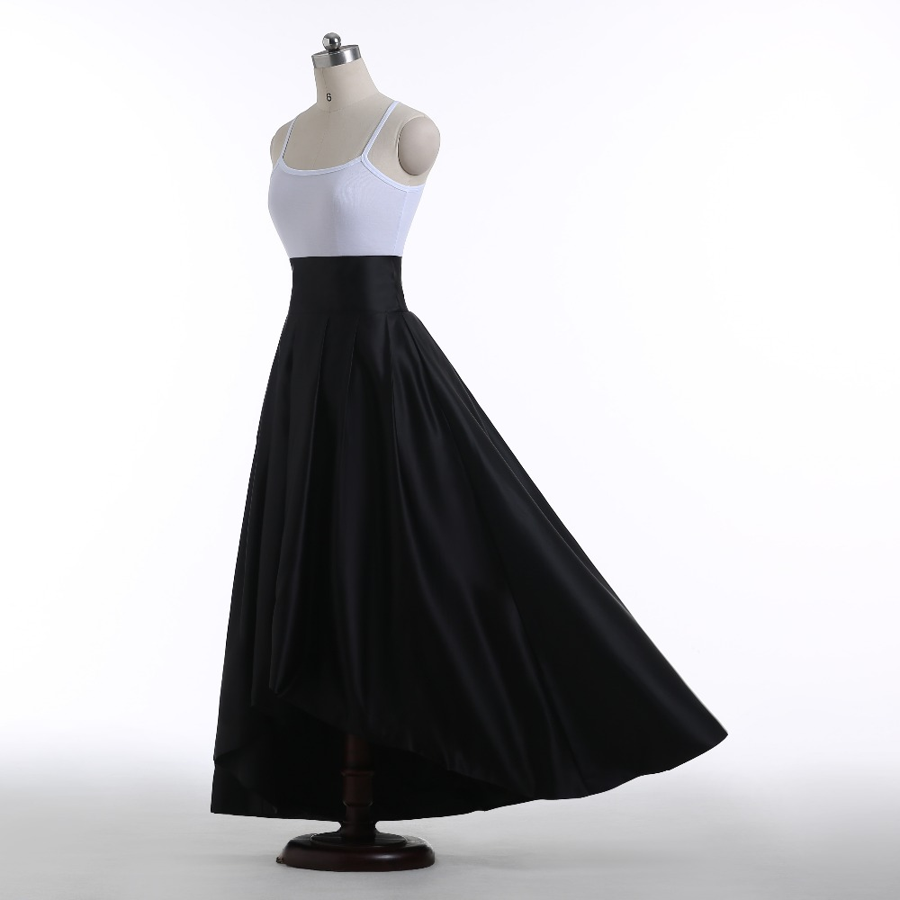 Mujer Cintura Maxi Plisada Chic Negro La Longa Longitud High 100 Satén Saia Cuadros Faldas De Verdaderos Falda Alta Low Piso 1wx1PEBqY