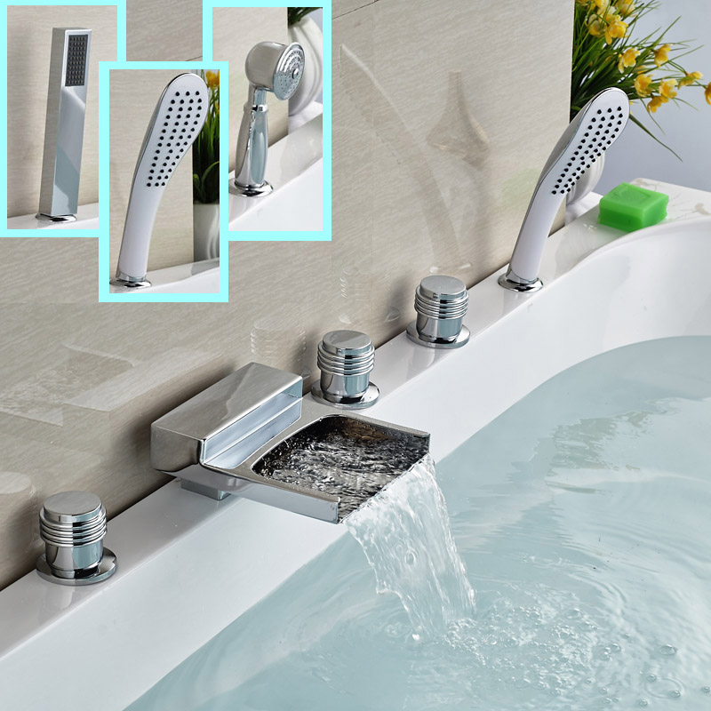 все цены на Deck Mount Ceramic Cartridge Bathtub Faucet Shower Set 3 Handle 5 Holes with Hand Shower Tub Filler Chrome Finish